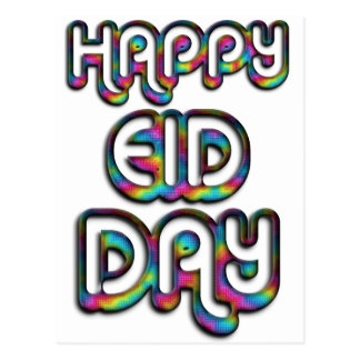 Eid Mubarak Greeting Rainbow Colors Typography Postcard