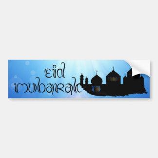 Eid Mubarak Mosque with Sunrays - Bumper Sticker