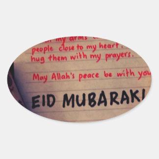 eid-Mubarak Pegatina Ovalada