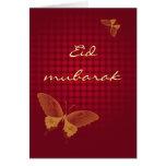 Eid mubarak - red butterly greeting card