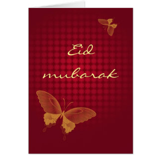 Eid mubarak - red butterly greeting card