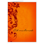 Eid Mubarak - tarjeta de felicitación anaranjada r