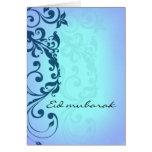 Eid Mubarak - tarjeta de felicitación azul