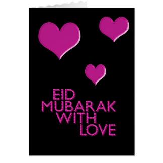 eid mubarak with love pink greeting card