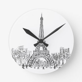 Eifel Tower Paris Round Clock