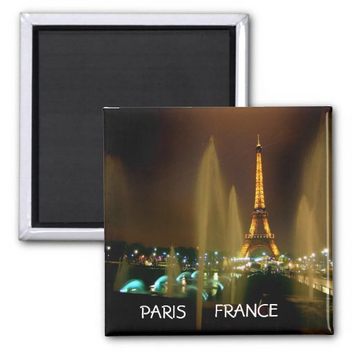 EIFFEL AT NIGHT 2 INCH SQUARE MAGNET
