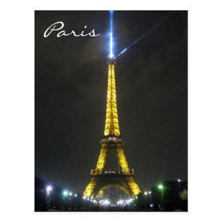 eiffel blue light postcard
