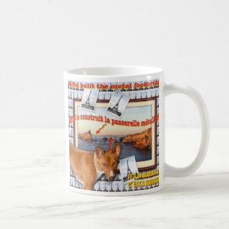 Eiffel built the metal footbridge. classic white coffee mug