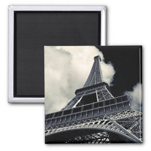 Eiffel in Black and White 2 Inch Square Magnet