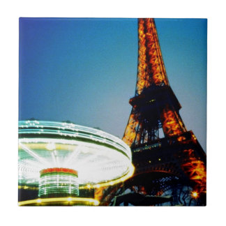 Eiffel Night Two Small Square Tile