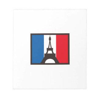 EIFFEL ON FRANCE FLAG MEMO PAD
