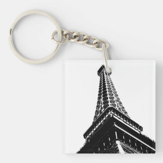 Eiffel on White Double-Sided Square Acrylic Keychain