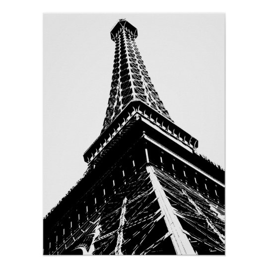 Eiffel on White Poster