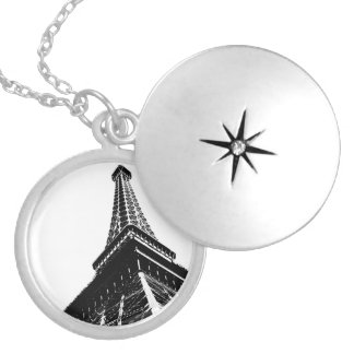 Eiffel on White Silver Plated Necklace