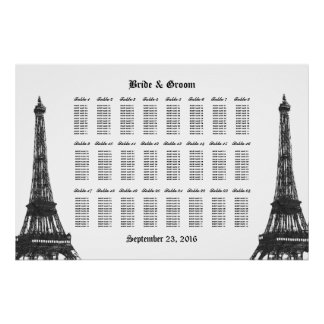 Eiffel Tower 24 Table Large Seating Chart Poster
