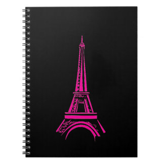 Eiffel Tower 80 pg Black & White Lined Notebook