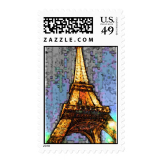 Eiffel Tower ala Fresco Postage Stamp