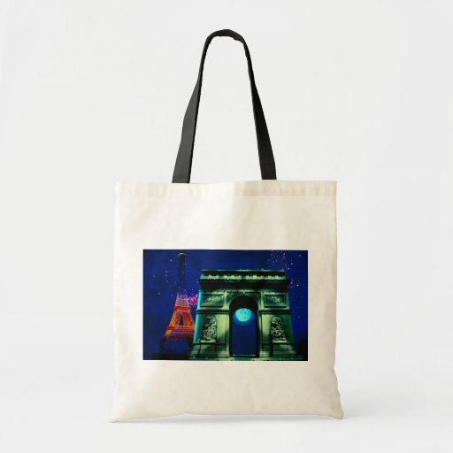 Eiffel Tower and Arc de Triomphe with moon Tote Bag