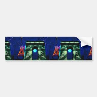 Eiffel Tower and Arc de Triomphe with moon Car Bumper Sticker