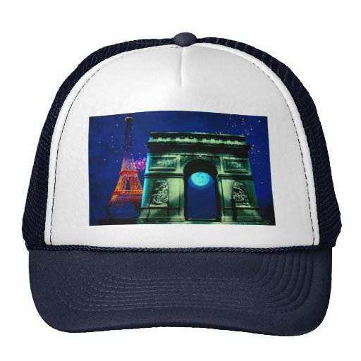 Eiffel Tower and Arc de Triomphe with moon Trucker Hats