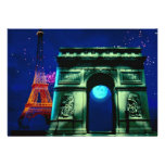 Eiffel Tower and Arc de Triomphe with moon Invitation