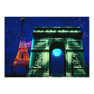 Eiffel Tower and Arc de Triomphe with moon 5x7 Paper Invitation Card