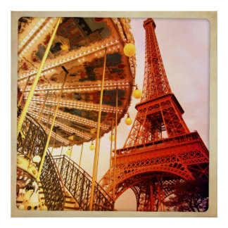 Eiffel Tower and Carrousel Poster
