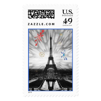 Eiffel Tower and fireworks Postage Stamp