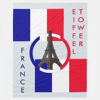Eiffel Tower and Flag of France Fleece Blanket