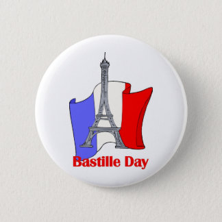 Eiffel Tower and French Flag Bastille Day Tees Button