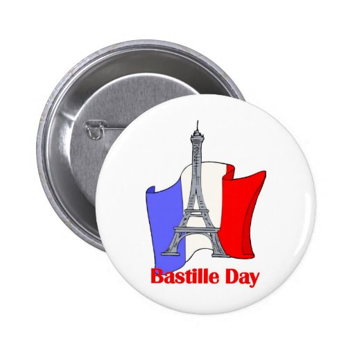Eiffel Tower and French Flag Bastille Day Tees Pinback Button