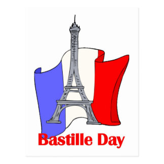 Eiffel Tower and French Flag Bastille Day Tees Postcard