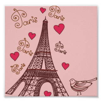 Eiffel Tower and Hearts in Pink Poster