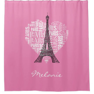 Eiffel Tower and Inscriptions Paris   Light Pink Shower CurtainLight Pink Shower Curtains   Zazzle. Pale Pink Shower Curtain. Home Design Ideas