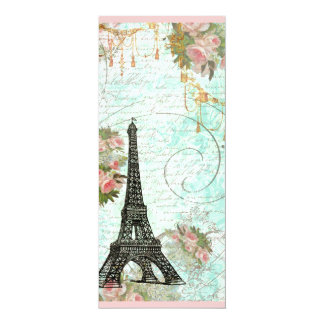 Eiffel Tower and Pink Roses 4x9.25 Paper Invitation Card