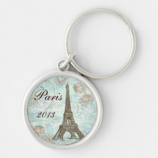 Eiffel Tower and Pink Roses Keychain