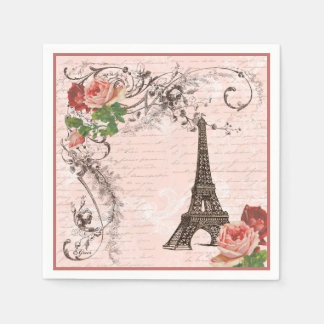 Eiffel Tower and Pink Roses Paper Napkins