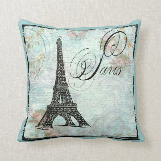 Eiffel Tower and Pink Roses Pillows