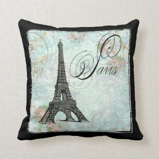 Eiffel Tower and Pink Roses Throw Pillow