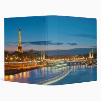 Eiffel Tower and Pont Alexandre III at Night 3 Ring Binder