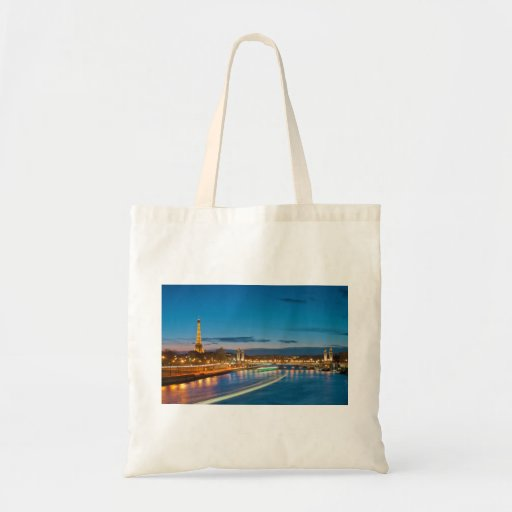 Eiffel Tower and Pont Alexandre III at Night Budget Tote Bag