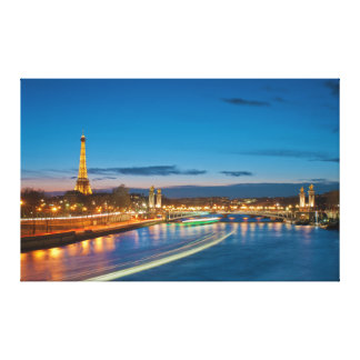 Eiffel Tower and Pont Alexandre III at Night Canvas Print