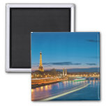Eiffel Tower and Pont Alexandre III at Night Magnets