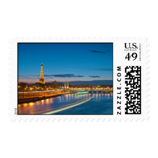 Eiffel Tower and Pont Alexandre III at Night Postage Stamp