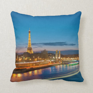 Eiffel Tower and Pont Alexandre III at Night Throw Pillow