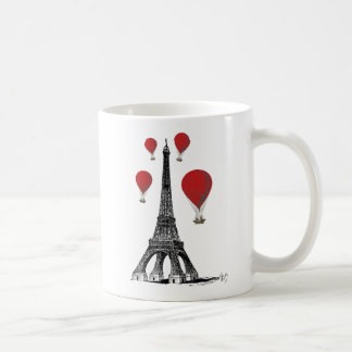 Eiffel Tower and Red Hot Air Balloons Coffee Mug