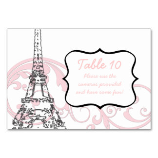 Eiffel Tower and Scrolls Table Cards
