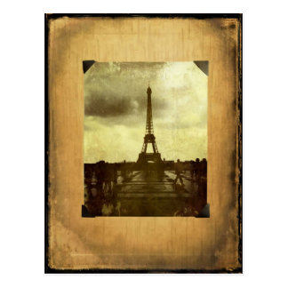 Eiffel Tower Antiqued Scrapbook Page Postcard