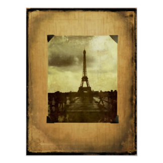 Eiffel Tower Antiqued Scrapbook Page Poster