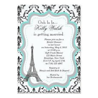 Eiffel Tower Aqua Paris Bridal Shower Invitation